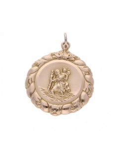 Pre-Owned 9ct Yellow Gold Patterned Edge St.Christopher Pendant