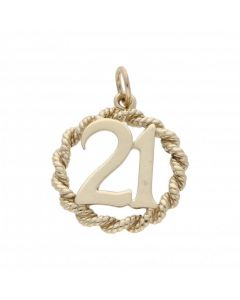 Pre-Owned 9ct Yellow Gold Rope Edge Age 21 Circle Pendant