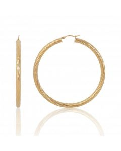 New 9ct Yellow Gold Large Twisted Design Creole Hoop Earrings