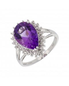 New 9ct White Gold Amethyst & Diamond Pear Shaped Cluster Ring