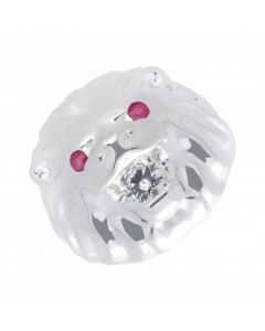 New Sterling Silver Red & White Cubic Zirconia Lion Head Ring
