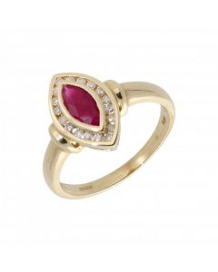 New 9ct Yellow Gold Ruby & Diamond Marquise Cluster Dress Ring