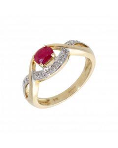 New 9ct Yellow Gold Ruby & Diamond Dress Ring