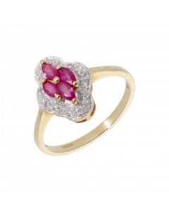 New 9ct Yellow Gold Ruby & Diamond Cluster Ring