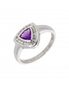 New 9ct White Gold Amethyst & Diamond Triangle Dress Ring