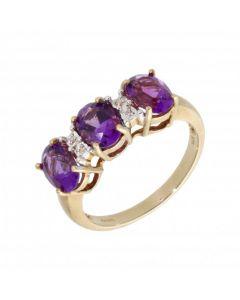 New 9ct Yellow Gold Amethyst & Diamond Dress Ring