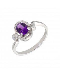 New 9ct White Gold Amethyst & Diamond Twist Dress Ring