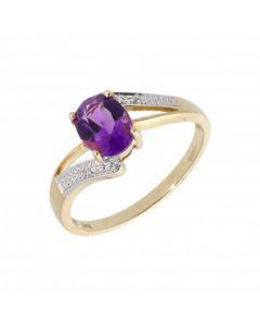 New 9ct Yellow Gold Amethyst & Diamond Twist Dress Ring