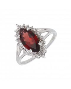 New 9ct White Gold Garnet & Diamond Marquise Shaped Cluster Ring