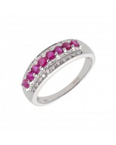 New 9ct White Gold Ruby & Diamond Eternity Style Ring