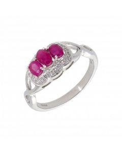 New 9ct White Gold Ruby & Diamond 3 Stone Style Dress Ring