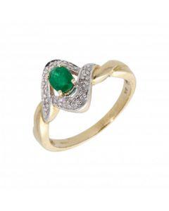 New 9ct Yellow Gold Emerald & Diamond Dress Ring