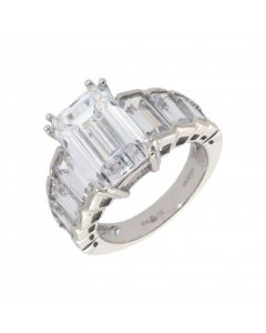 Pre-Owned 9ct White Gold Cubic Zirconia Multi Stone Dress Ring