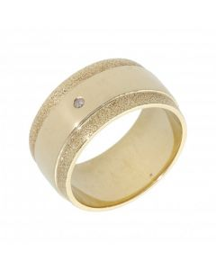 Pre-Owned 9ct Gold 9mm Diamond Set Frosted Edge Wedding Ring