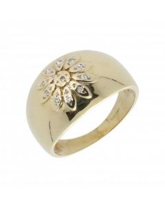 Pre-Owned 9ct Yellow Gold Cubic Zirconia Flower Band Ring