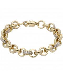 New 9ct Gold 6.5 Inch Cubic Zirconia Belcher Bracelet 27grams