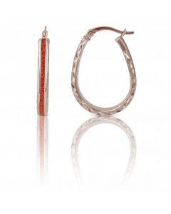 New Sterling Silver Rose Moondust Creole Hoop Earrings