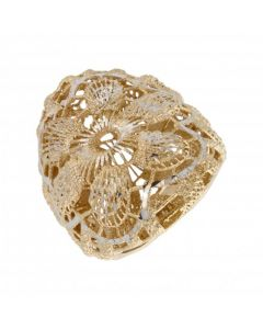 Pre-Owned 9ct Yellow & White Gold Filigree Floral Dress Ring