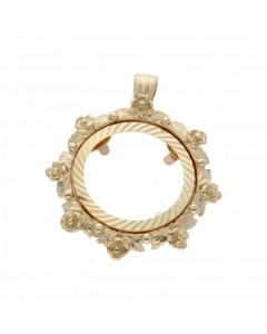 Pre-Owned 9ct Gold Floral Half Sovereign Coin Pendant Mount