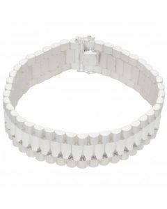 New Sterling Silver Heavy 9 Inch Rolex Style Link Bracelet 1.9oz