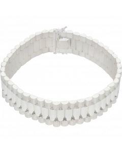 New Sterling Silver Heavy 9.5Inch Rolex Style Bracelet 1.9oz