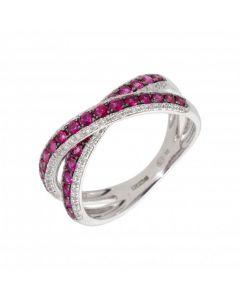 New 9ct White Gold Ruby & Diamond Cross Over Ladies Ring