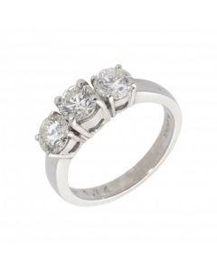 New 18ct White Gold 1.74ct Diamond Trilogy 3 Stone Ring