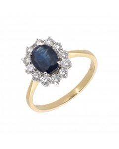 New 18ct Yellow Gold Sapphire & Diamond Oval Cluster Ring