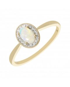 New 9ct Yellow Gold Diamond & Opal Oval Cluster Ring