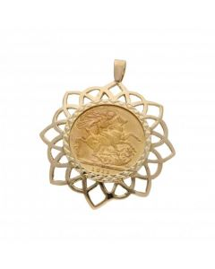 Pre-Owned 1911 Full Sovereign Coin In 9ct Gold Pendant Mount