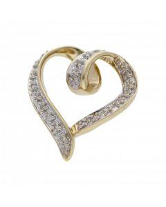 Pre-Owned 9ct Yellow Gold Diamond Set Heart Pendant
