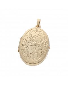 Pre-Owned 9ct Yellow Gold Patterned Oval Locket Pendant