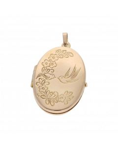 Pre-Owned 9ct Yellow Gold Lovebirds Oval Locket Pendant
