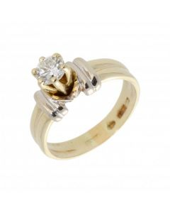Pre-Owned 14ct Yellow & White Gold 0.50ct Diamond Solitaire Ring