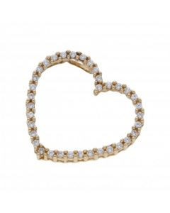 Pre-Owned 9ct Yellow Gold Cubic Zirconia Heart Pendant