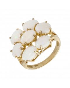 New 9ct Yellow Gold Opal Cluster Dress Ring