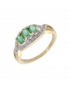 New 9ct Yellow Gold Emerald & Diamond Trilogy Dress Ring