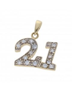 Pre-Owned 9ct Yellow Gold Cubic Zirconia Age 21 Pendant