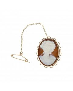 Pre-Owned 9ct Yellow Gold Oval Cameo Brooch