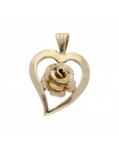 Pre-Owned 9ct Yellow Gold Rose Heart Pendant