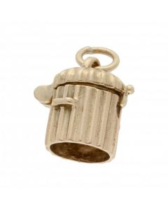 Pre-Owned 9ct Yellow Gold Opening Trash Can Charm