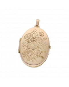Pre-Owned 9ct Yellow Gold Floral Patterned Oval Locket Pendant