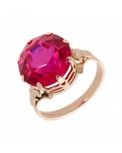 Pre-Owned 14ct Rose Gold Synthetic Ruby Solitaire Dress Ring