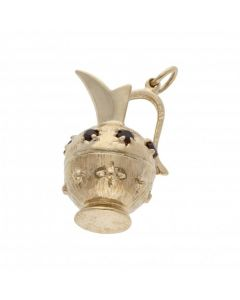 Pre-Owned 9ct Yellow Gold Garnet Set Ornate Jug Charm