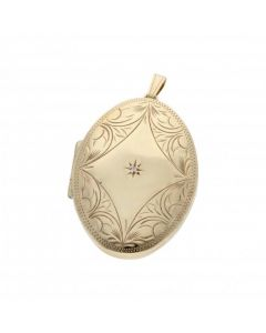 Pre-Owned 9ct Gold Diamond Set Patterned Oval Locket Pendant