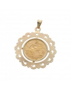 Pre-Owned 1914 Half Sovereign Coin In 9ct Gold Pendant Mount