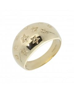 Pre-Owned 9ct Yellow Gold Star Patterned Domed Band Ring