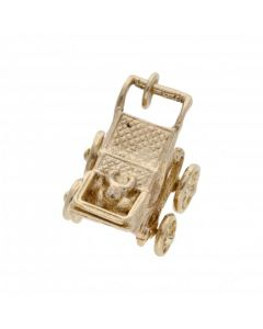 Pre-Owned 9ct Yellow Gold Baby Pram Pushchair Charm