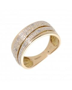 Pre-Owned 9ct Yellow Gold Diamond Set Twist Band Ring