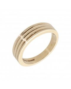 Pre-Owned 9ct Yellow Gold Ribbed Band Ring